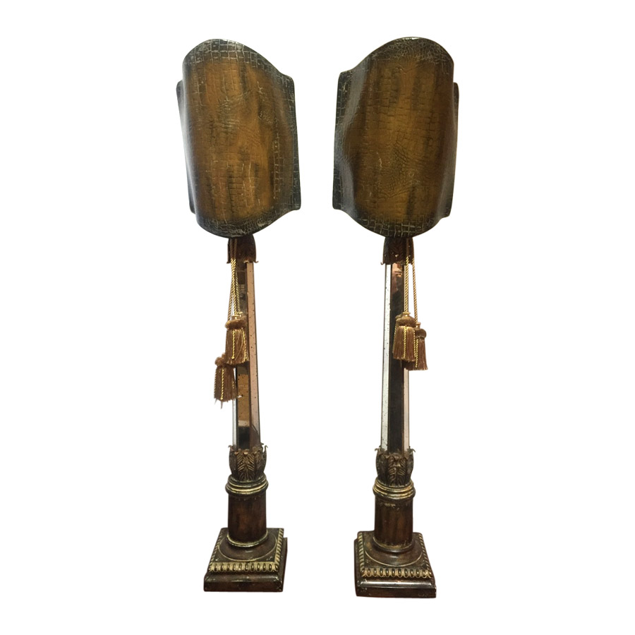 Quirky Pair Occasional Lamps With Mirror & Aged Metal