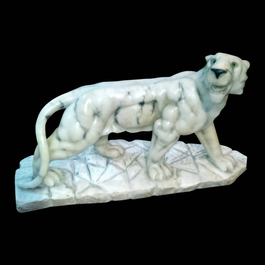 Stunning Art Deco Alabaster Tiger