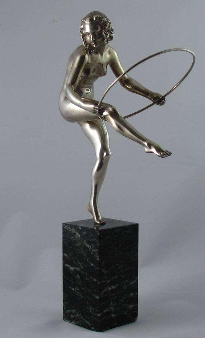 Stunning Art Deco silvered bronze