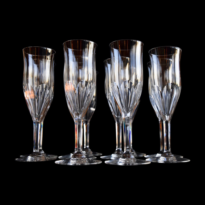 A Set of 10 Val St Lambert Champagne Flutes