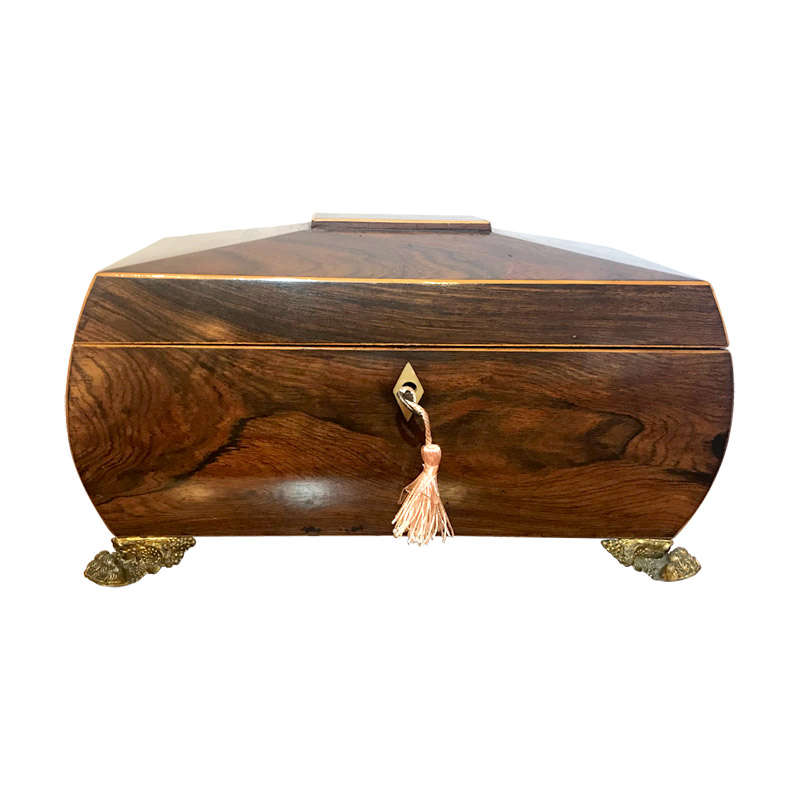 Stunning William IV Rosewood Fitted Tea Caddy