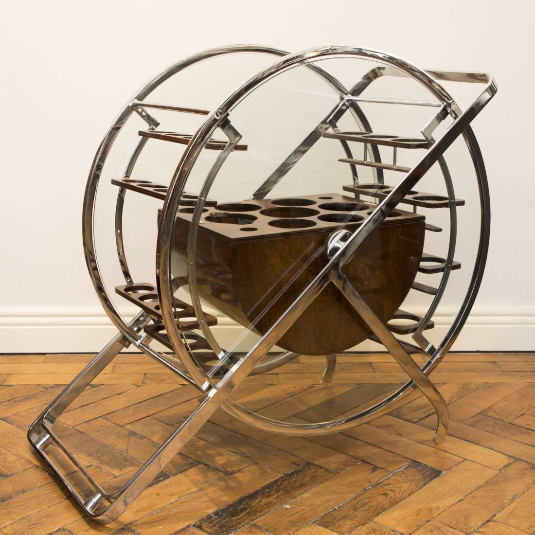 EXCEPTIONAL AND RARE ROTATING COCKTAIL TROLLEY