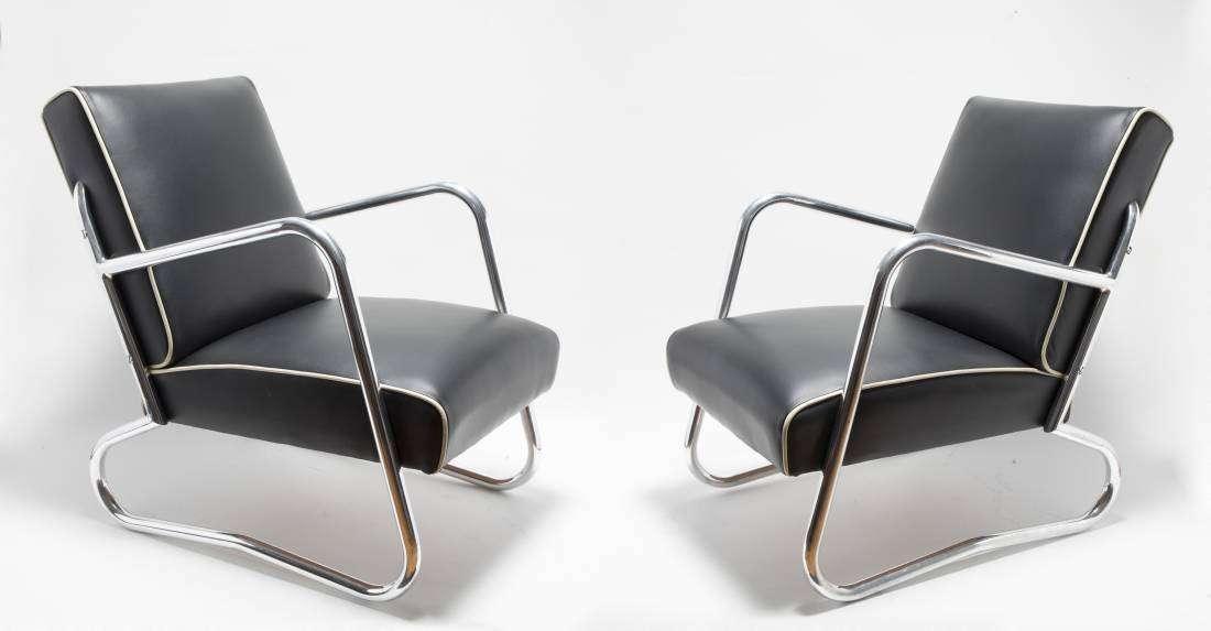 Set of funky Art Deco Chrome Armchairs