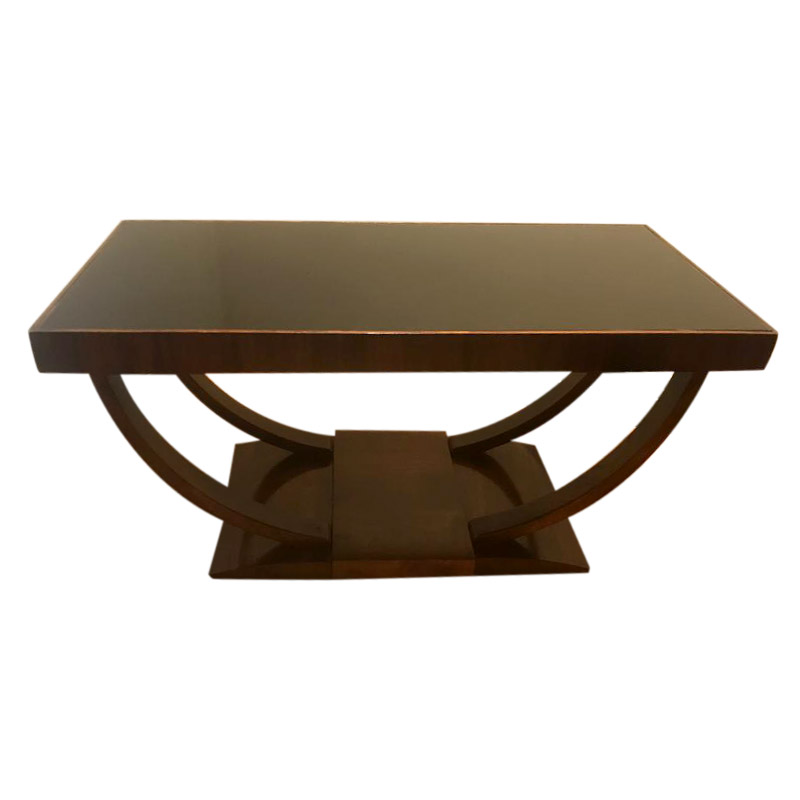 AN ART DECO WALNUT U SHAPED COFFEE TABLE