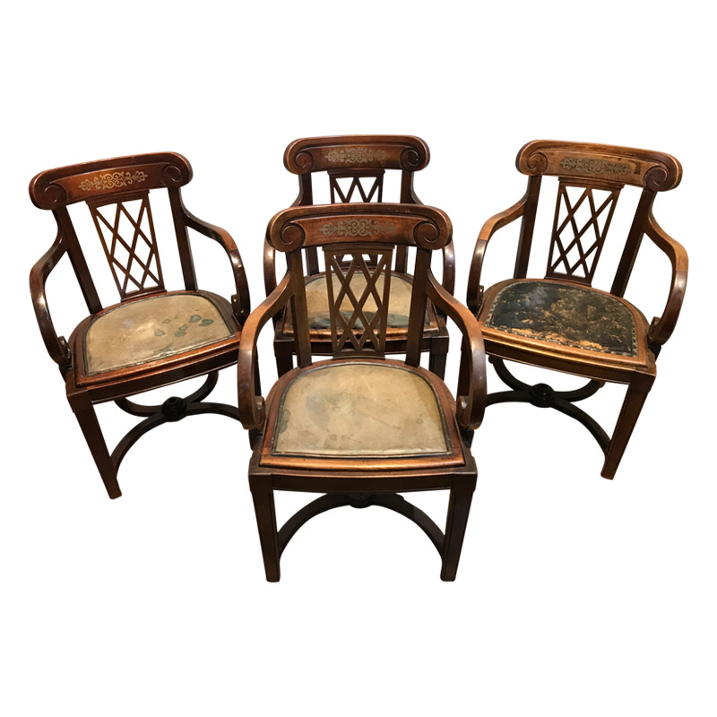 STUNNING SET OF 4 DECK CHAIRS IN THE REGENCY STYLE