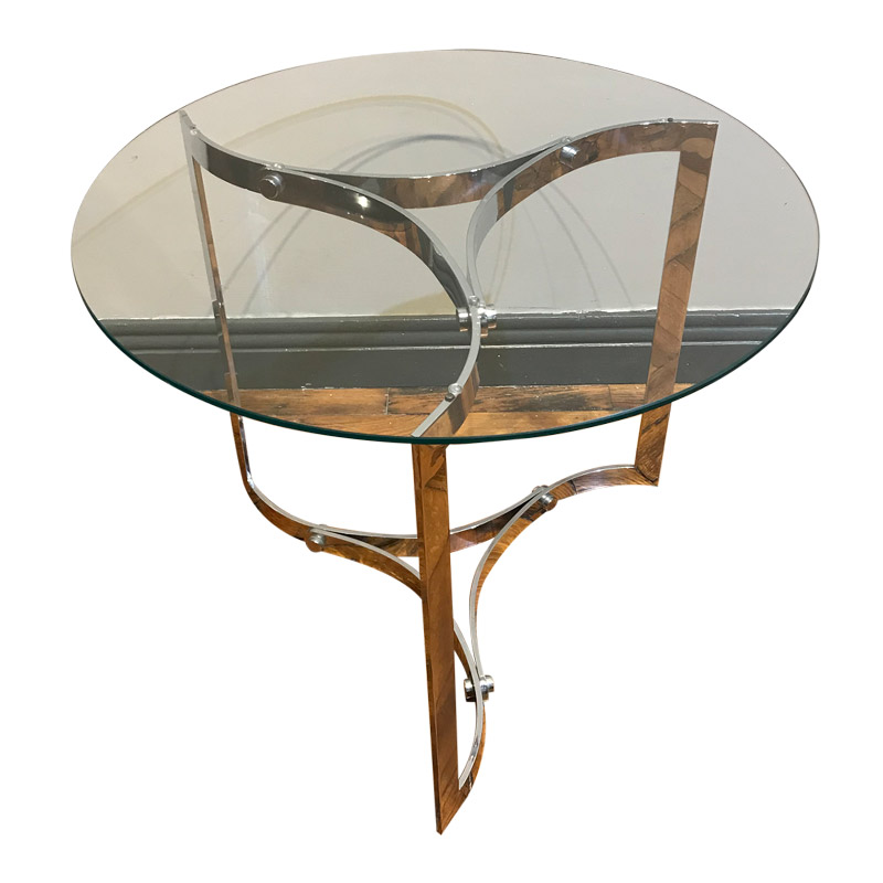 COOL VINTAGE CIRCULAR GLASS TOP TABLE