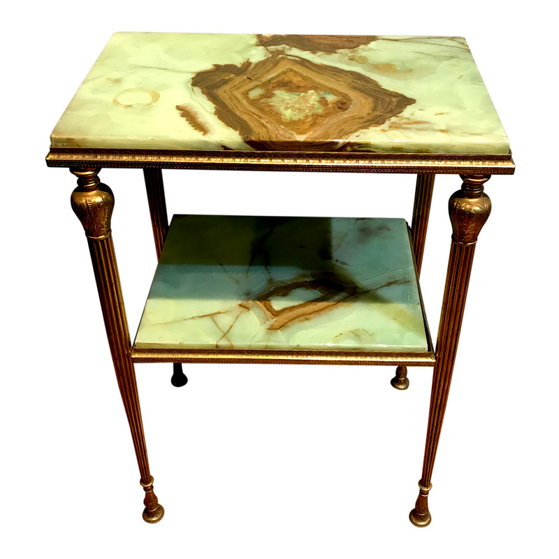 UNUSUAL 2 TIER MARBLE & BRASS TABLE