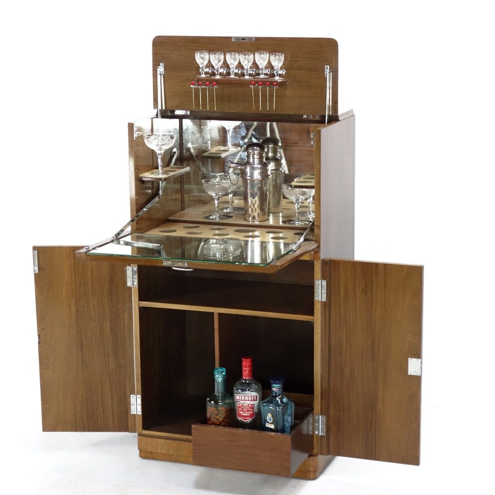 Diminutive Art Deco Cocktail Cabinet by Maples