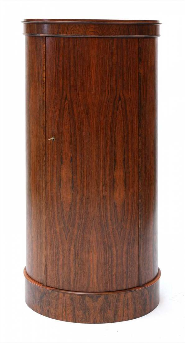 Exceptional Tall Cylindrical Rosewood Cabinet