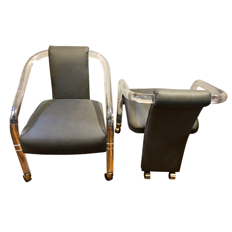 Funky Pair Of Lucite Occasional Chairs
