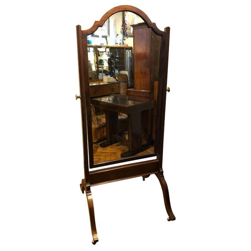 An Edwardian Mahogany Cheval Mirror