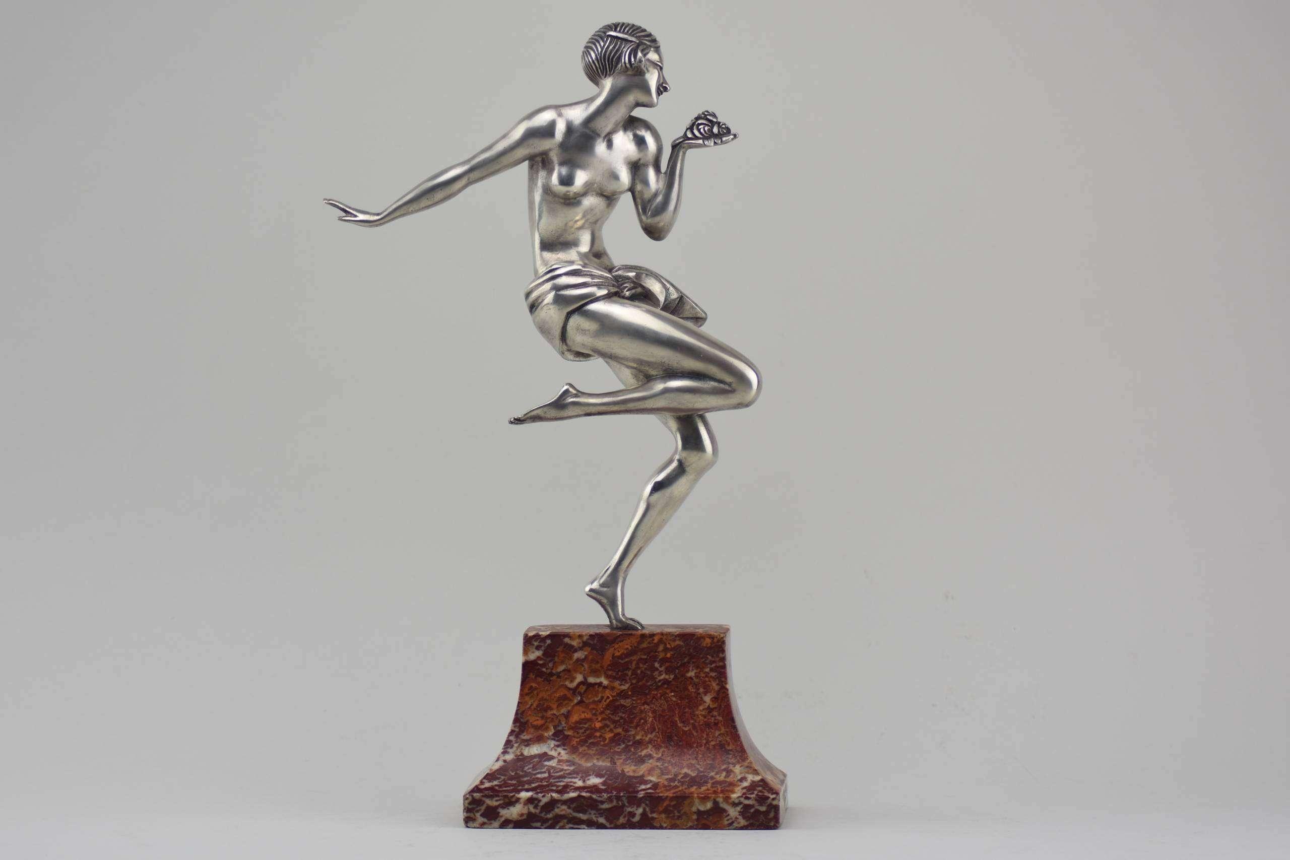 STUNNING ART DECO SILVERED BRONZE DANCER