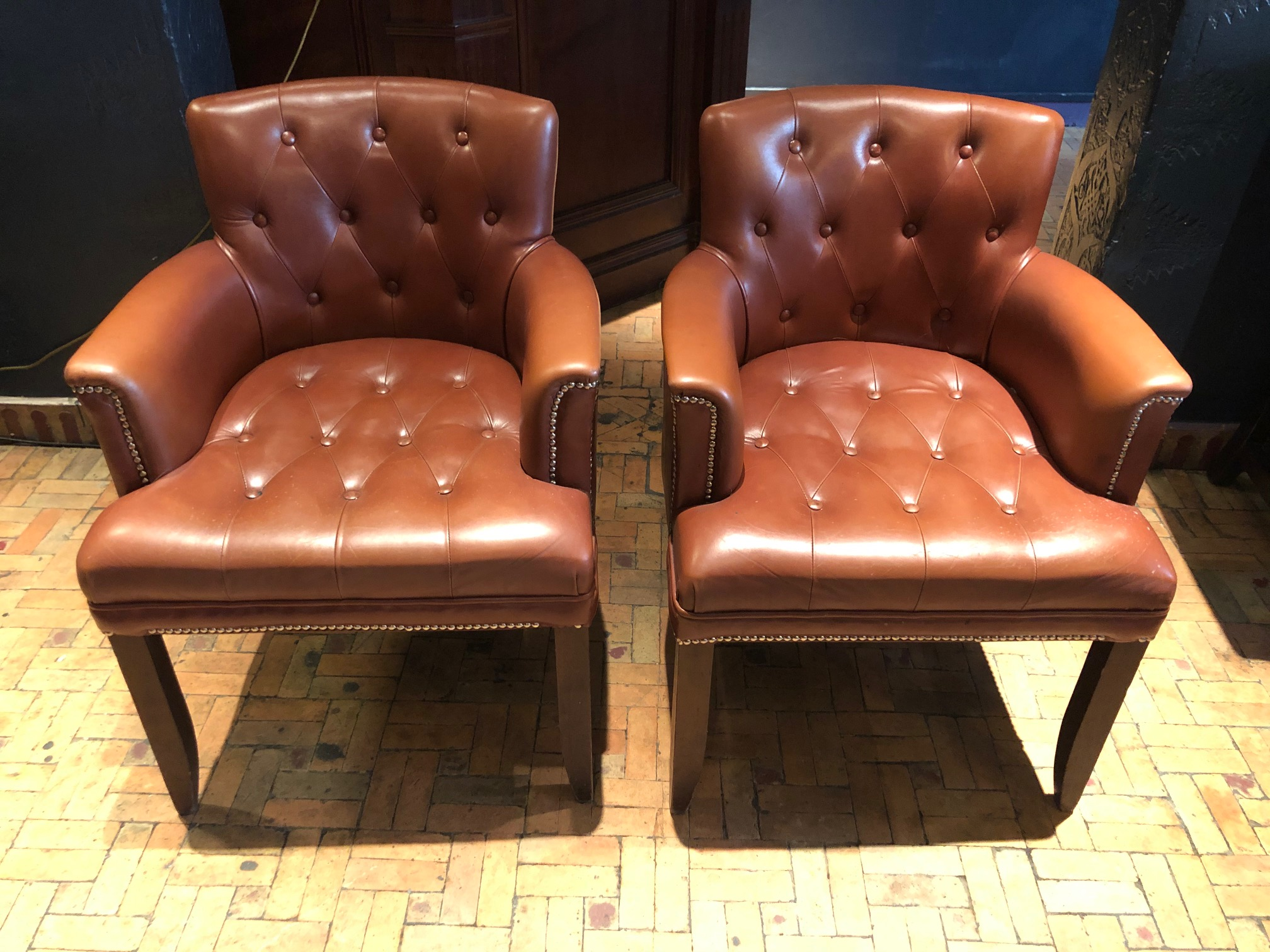 COOL PAIR OF LEATHER DEEP BUTTON ARMCHAIRS