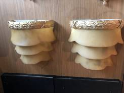 QUALITY ALABASTER & ORMOLU CASCADING WALL LIGHTS