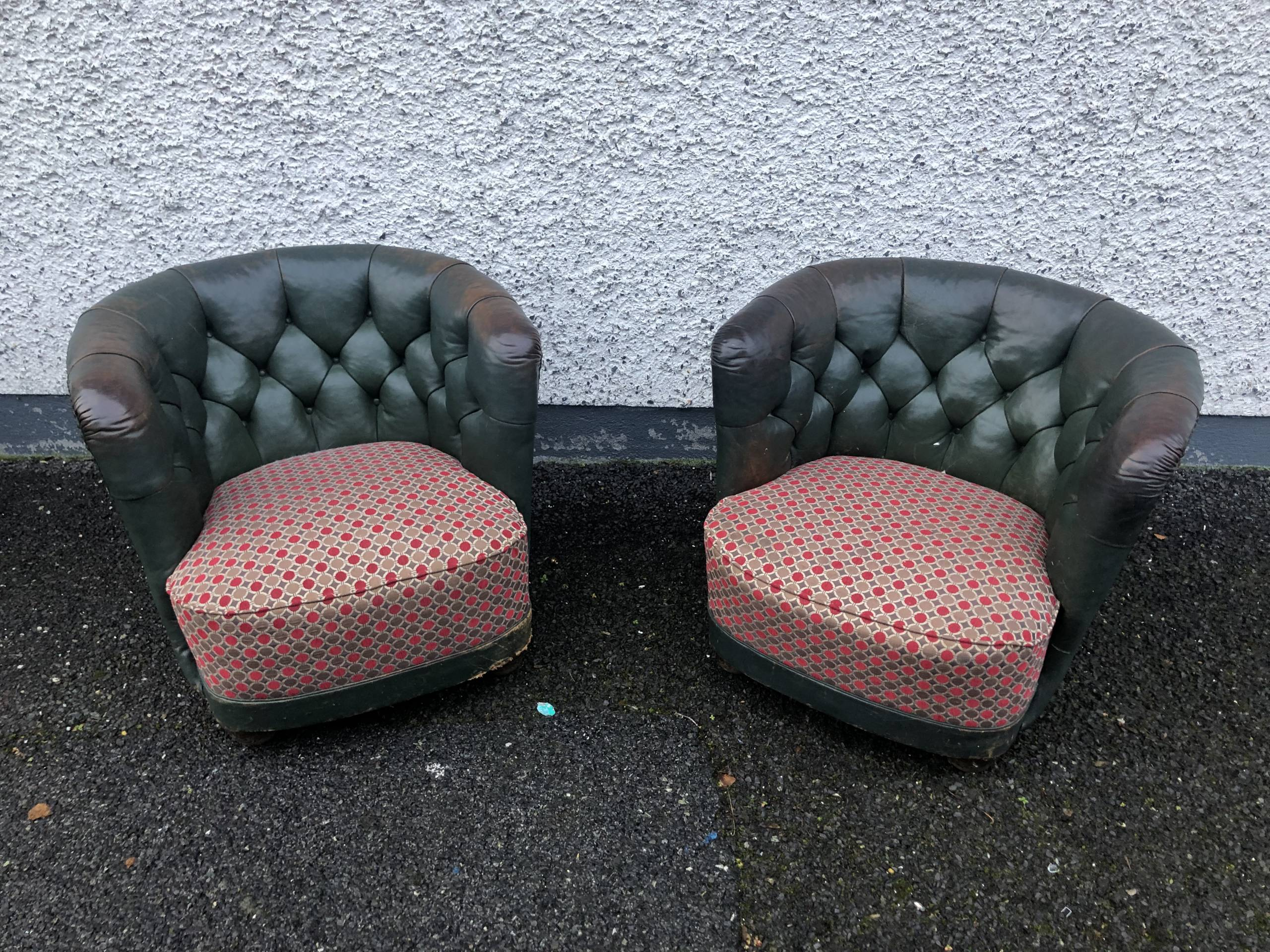 VINTAGE LEATHER & FABRIC TUB CHAIRS
