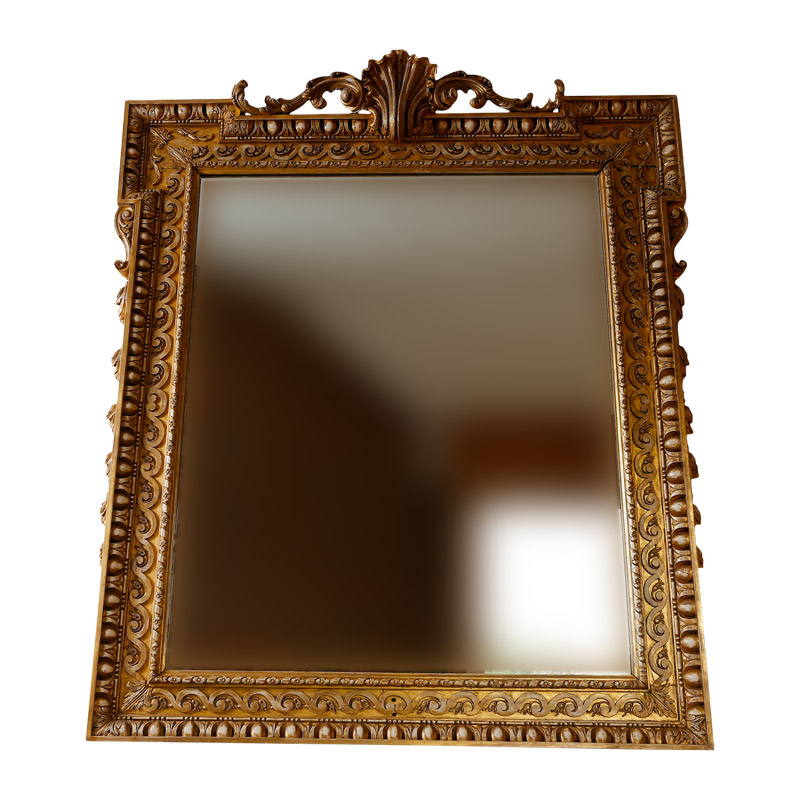 SUPERB PAIR OF ENGLISH CARVED WOOD & GESSO OVERMANTLE MIRRORS