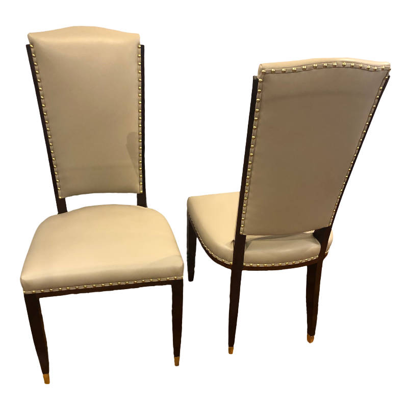 STUNNING SET OF SIX FRENCH ART DECO DINING CHAIRS
